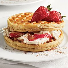 Strawberry Cream Cheese Waffle Sandwiches | CookingLight.com