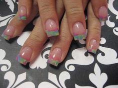 Multicolor marble french tip nails. <3