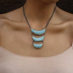 Ceramic Necklace in Seafoam Glaze by Dandy. American Made. 2013 Buyers Market of American Craft. americanmadeshow.com