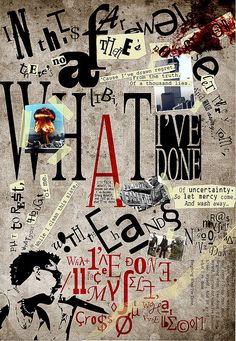 Dadaism - Many words, little colour, black and white art.