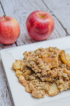 Homemade Apple Crisp with a secret ingredient. You'll love this quick and simple family favorite recipe!