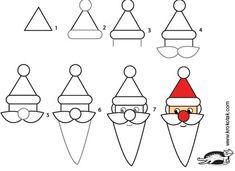 simple drawing kids, draw phone, phone wallpapers, iphone wallpaper, santa claus crafts, art drawings, kid stuff, draw santa, christma