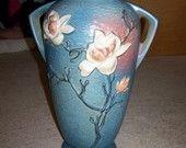 Roseville Blue Magnolia 18inch Floor Vase blue magnolia, magnolia 18inch, 18inch floor, floor vase, rosevill blue