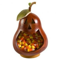 Our newest candy dish begins as a gourd, grown in Pennsylvania and then hand-crafted into a jolly jack-o-lantern that's the perfect place to stash little Halloween treats, nuts or potpourri.
