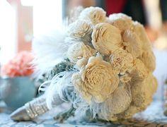 #Balsa #wood #flower #bouquet with light #blue #feathers