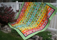 There's a tutorial for this strippy quilt.