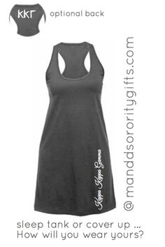 $24.98 Kappa Kappa Gamma Sleep Tank/Cover Up, Style 3 with Optional Greek Letters On The Back. Our super bright cotton Greek Sleep Tank/Cover Up, Style 3 Will Be Your Go To Sorority Sleep Tank/Cover Up, Style 3 In Your Closet! Made of 100% cotton, minimal shrinkage only 5%. Important: This A Very Loose Flowy Sleep Tank/Cover Up, Style 3. Fun bright colors great for wearing with shorts, leggings or thrown over a swimsuit!!