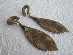 Bronze Aventurine Leaf Gauged Earrings. Gauged dangly earrings! NEED.