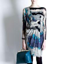 klein print, print dress, dress luxuri, silk print