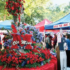 Tailgating at Ole Miss    On home game days, Oxford's storied, 10-acre greensward turns into a tableau of antebellum civility and manners: tables set with lace and fine china, chandeliers suspended from the boughs of the elms and magnolias. To see the cocktail dresses on display in The Grove is to be reminded that not all the talent is on the field.