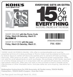 Kohls: 15% off Printable Coupon - Save 15% off your entire purchase at Kohl's