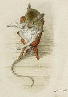 Bespectacled MOUSE reading a newspaper (1890) by Helen Beatrix POTTER (Author, Illustrator. England 1866 – 1943). from the book The Tailor of Gloucester.