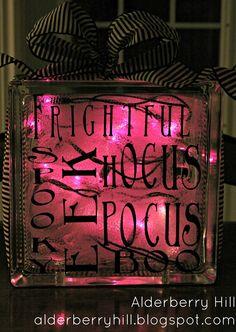 Halloween Glass Blocks with Lights