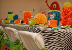 table settings, monster party, birthday parties, party themes, monster birthday, party tables, little monsters, monster mash, themed parties