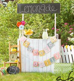 Squeezed Daily Lemonade Stand Recycled Cardboard Banner, Summer Photo Shoot Prop, Personalized Party Decoration, 1st Birthday Picture Prop on Etsy, $33.00