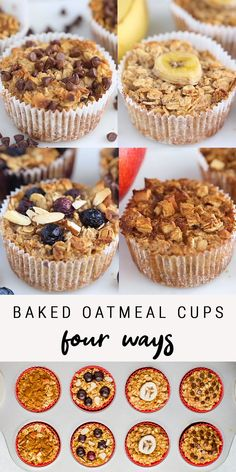 Keep these healthy baked oatmeal cups in your fridge or freezer for an easy, healthy breakfast! There's four different flavor options so you'll never get bored. Perfect for meal prep and for kids. Vegan + gluten-free.