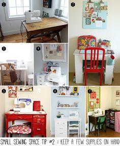 Small sewing space tip #2 of 5 : Keep a few supplies on hand. Store the rest! hand