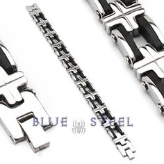 PIN IT TO WIN IT! Metallic Bike Chain :  This stainless steel & rubber bracelet is a biker's pride. Wear it like you mean it, unleash the beast.  $79.00  www.buybluesteel.com