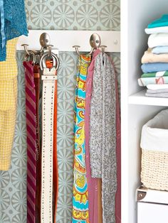 hang belt from wall hooks in the closet