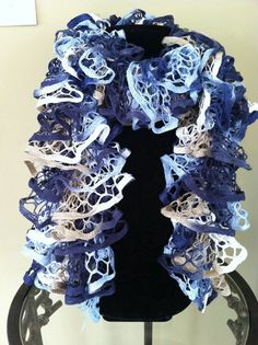 Starbella Faded Jean color / Knitted Ruffle Scarf by tanyahardee, $25.00