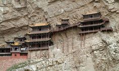 hanging monastery on the side of Mt Huashan in China