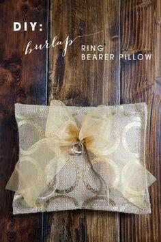 DIY Burlap Ring Bearer Pillow via Something Turquoise burlap inspir, crafti caper, ring bearer pillows, diy burlap, burlap ring
