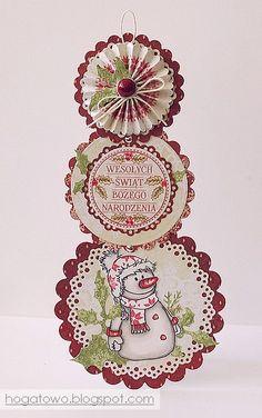 Teleskopowa z bałwankiem/ Telescopic snowman card