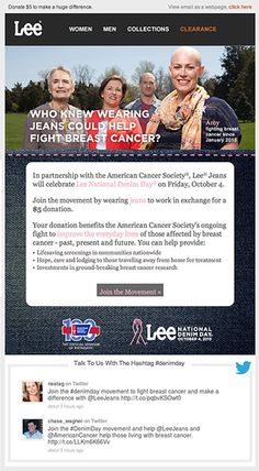 Lee Jeans included live tweets in this email to promote participation in Lee National Denim Day, an initiative with the American Cancer Society. #emailmarketing #socialmedia