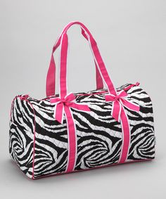 Take a look at this Pink Zebra Quilted Duffel Bag by Dress Up Dreams Boutique on #zulily today!