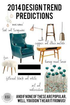 2014 Design Trend Predictions. #Teal #Turquoise #Macrame #Copper #Metals #fur #honeywoodtones #BlackandWhite #Art #Watercolors