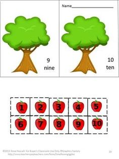 An Apple a Day Cut and Paste Worksheet Set-Pre-K, K, Special Education ...