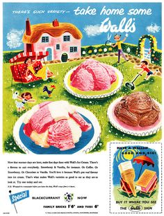 Such a sweetly darling mid-century illustration. #ice #cream #vintage #ad #food #1950s