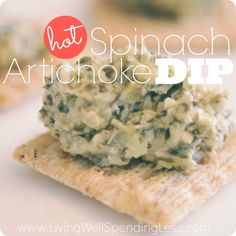 Hot Spinach Artichoke Dip. This easy slow cooker spinach dip is super easy to make and full of flavor. A definite crowd pleaser! The perfect dish to make ahead for effortless entertaining!