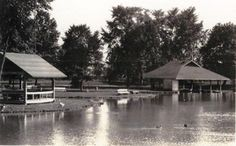 A view across the Casino Park lake in Mansfield, Ohio, including a small pavilion and the boat house. The only living creatures in the photo are several ducks swimming in the pond and a goose patrolling the water's edge.