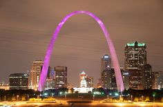 Gateway Arch, St. Louis Missouri - The city lights the Arch pink during October in honor of Breast Cancer Awareness. Just one more reason it to love it.