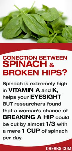 Spinach is extremely high in vitamin A and K, helps your eyesight BUT researchers found that a woman's chance of breaking a hip could be cut by almost 1/3 with a mere 1 cup of spinach per day. #dherbs #healthtips