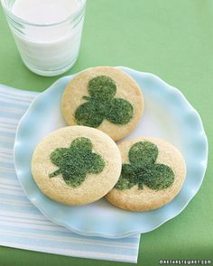 Dress up sugar cookies with a clover this Saint Patrick's Day.