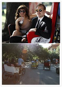 from the same wedding; the wedding party rode to the venue in pedicarts :3