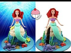 MERMAID CAKE! Make a Princess Ariel Little Mermaid Cake - Learn how to make these delicious treats, and heaps more at Mycupcakeaddiction!