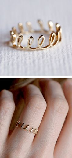 dainty rings, white gold, glitter gold, loop ring