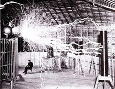 Nikola Tesla in his Lab  .