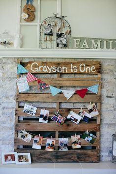 Great idea for a first year photo banner display at this County Fair Themed 1st Birthday Party with So Many Cute Ideas via Kara's Party Ideas | KarasPartyIdeas.com Display Photos, Birthday Parties, Picture Boards, Photo Displays, Picture Displays, Pallet Art, 1St Birthdays, Vintage Fair, First Birthday Banner