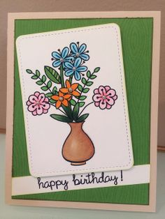 Lawn Fawn - Blissful Botanicals, Our Friendship Grows, Happy Everything, Stitched Journaling Card Lawn Cuts die _ pretty birthday card by Anuja Flickr - Photo Sharing!