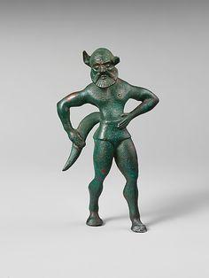 Bronze statuette of a satyr  Period: Archaic Date: 6th century B.C. Culture: Etruscan