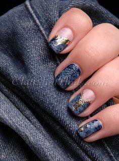 Nail art. Theme: Jeans!! How cute is THAT?!?!?! :D