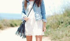 jean jacket with a white summer dress