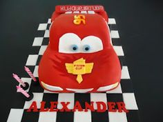 Lightning McQueen: Carved Cakes and Cupcakes