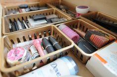 drawer organization, makeup drawer, bathroom organization, organization tips bathroom, spray painting