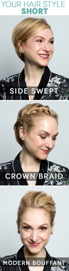 3 Ways to Switch Up a Short Hairstyle: Side Swept, Crown Braid, & Modern Bouffant