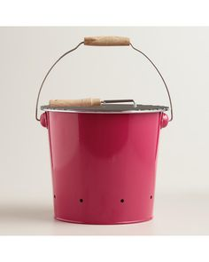 Mini Pink Galvanized Steel Bucket Grill